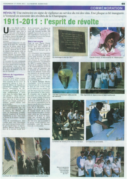 article Marne Agricole Juin 2011